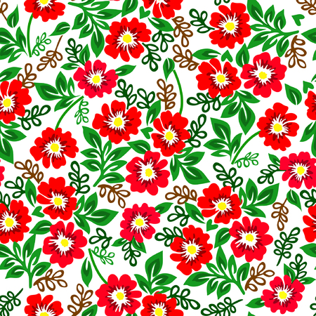 Vector illustration of colorful pattern with red flowers on a white background.