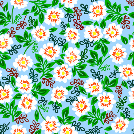 Vector illustration of colorful pattern with white flowers on a blue background.
