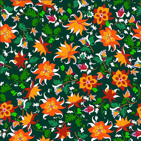 Vector illustration of seamless flowers pattern
