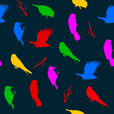 Vector illustration of seamless pattern with birds. Colorful birds on dark background.