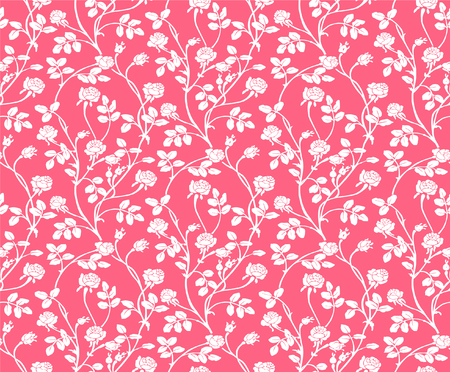 Vector illustrator of pink and white flower seamless pattern. Beautiful white roses and leaves on soft pink background.