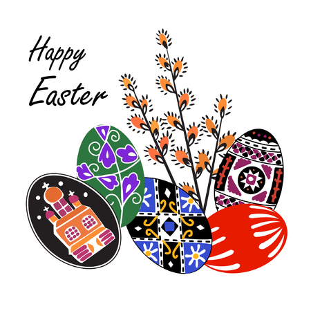 Vector illustration of colorful Easter eggs with abstract ornament. Black, blue,green and red Easter eggs wint tradition decoration on it and spring willow branches. Happy Easter greeting card.
