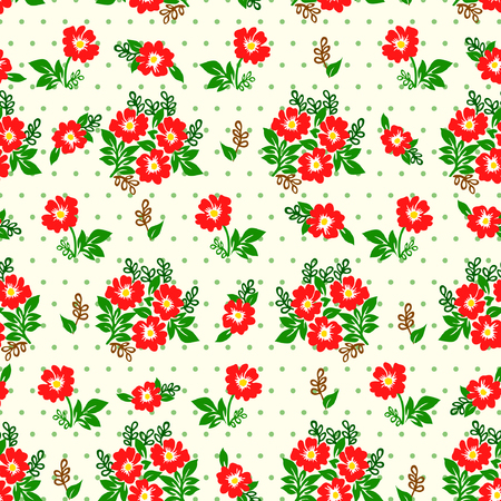 interesting: Vector illustration of seamless yellow and red flowers pattern on light background. Beautiful simple flowers and leaves.