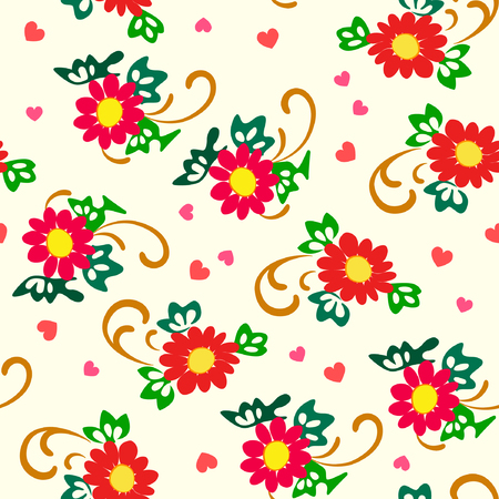 interesting: Vector illustration of simply red flowers pattern. Red and yellow flowers, green leaves and pink hearts on pastel background.