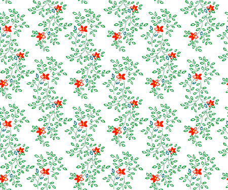 Vector illustration of flowers and leaves seamless pattern. Small red flowers and green leaves on white background.