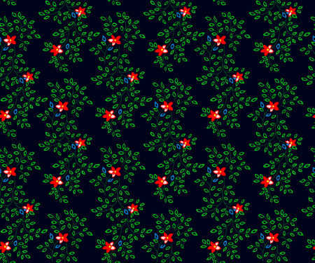 Vector illustration of flowers and leaves seamless pattern. Small red flowers and green leaves on black background.