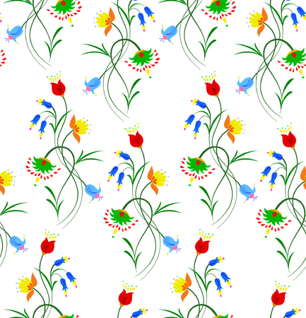 Vector illustration of seamless fantasy flower pattern. Colorful flowers on white background.