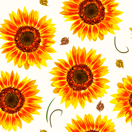 Vector illustration of yellow sunflowers seamless pattern. Yellow sunflowers with black seeds and yellow leaves on light pastel background.  イラスト・ベクター素材