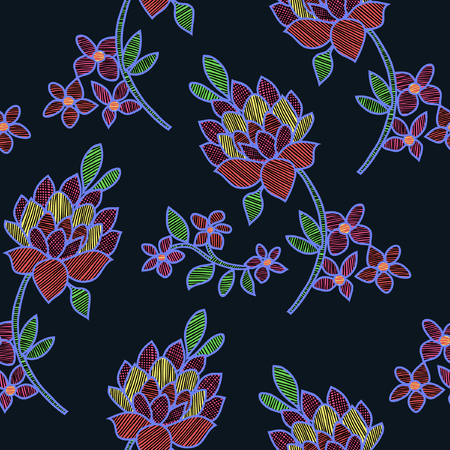 Vector illustration of abstract colorful flowers and leaves seamless pattern.