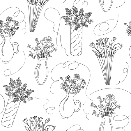 Vector illustrator of flower bouquets in vases seamless patern. Roses, chamomiles, tulips and lilac in vases on white background. Hand drawn. Çizim