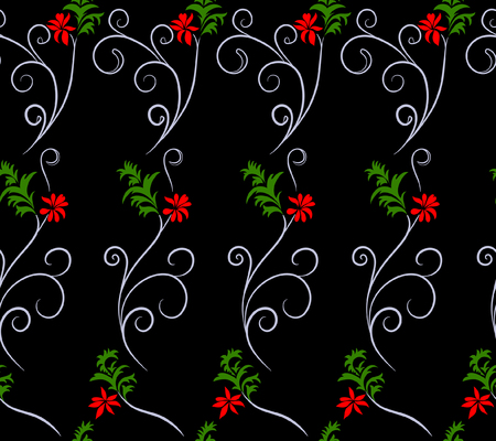 Vector illustration of botanical seamless pattern. Imaginary red flowers, green leaves and white swirls on black background. Hand drawn. Çizim