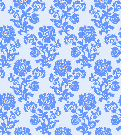 A Vector illustration of seamless abstract flower pattern. Blue flowers and leaves on light background.