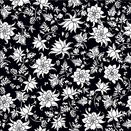 A Vector illustration of seamless flower pattern. Abstract white flowers and leafs on black background.
