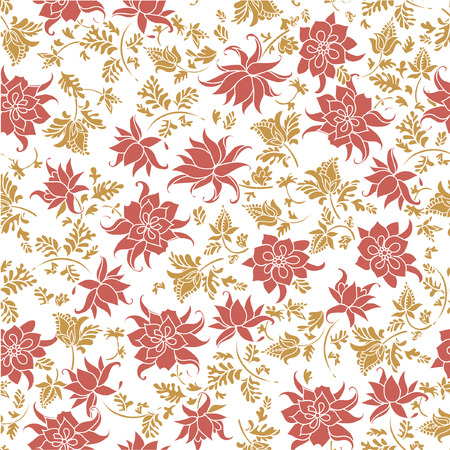 Vector illustration of seamless colorful flower pattern. Abstract orange and yellow flowers and leafs on white background. Çizim