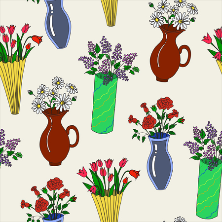 Vector illustration of colorul flowers on vases on light background. Seamless pattern. Hand drawn.