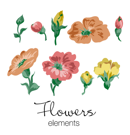 Vector illustration of colorful flowers elements. Red, orange and yellow flowers with green leaves. Çizim