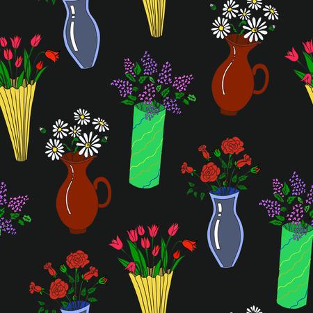 Illustration of colorful flowers on vases Çizim