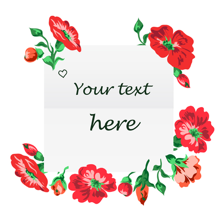 Illustration of greeting card with red flowers border on white background