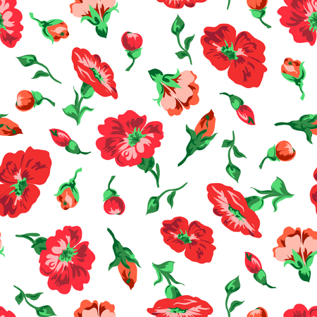 A Vector illustrator of red flowers and buttons seamless pattern
