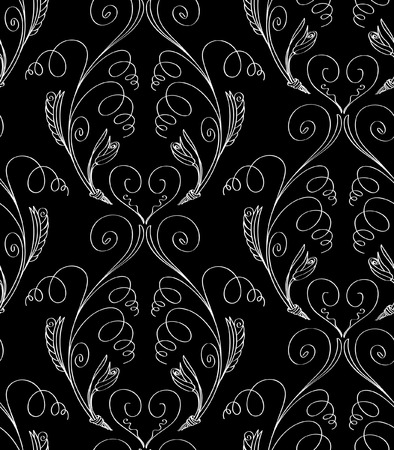 Vector illustration of fantasy plants seamless pattern. White abstract plants on black background. Hand drawn.