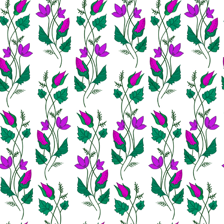 Vector illustration of wavy violet flowers and green leaves on white background. Seamles pattern.