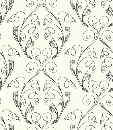 A Vector illustration of fantasy plants seamless pattern. Black abstract plants on light background. Hand drawn.