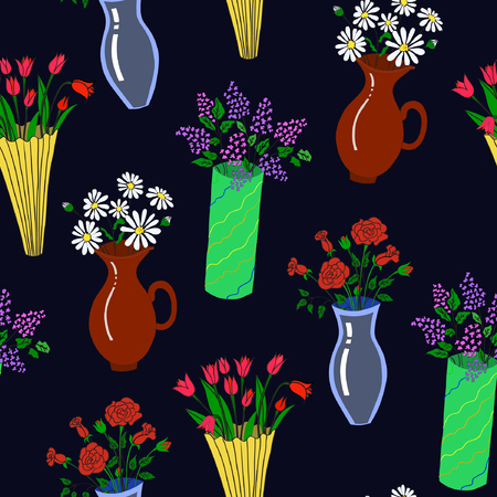 A Vector illustration of colorful flowers in vases on black background. Seamless pattern. Hand drawn. Çizim