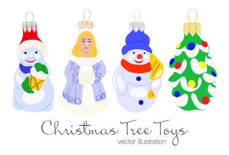 Vector illustration of colorful christmas tree toys. Christmas tree, girl and snowman toys. Çizim
