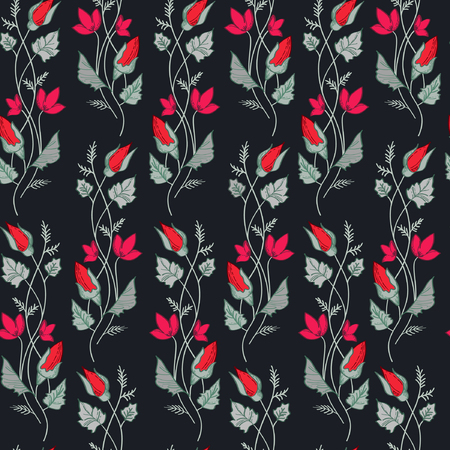 Vector illustration of wavy red and pink flowers branches and grey leaves on dark navy background. Seamles pattern.