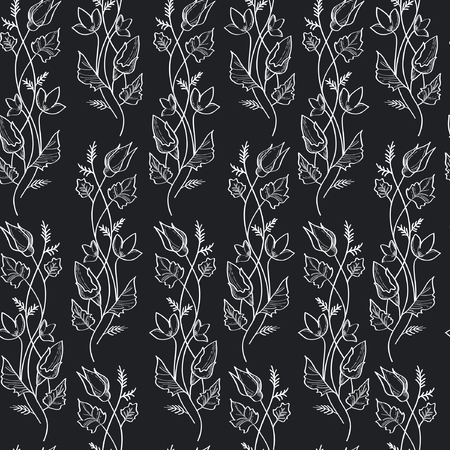 Vector illustration of wavy flowers branches and leaves. White and grey contour on black background. Seamles pattern.