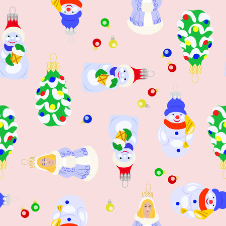 Vector illustration of christmas tree toys seamless pattern. Christmas tree, snowman and snow maiden on light background.
