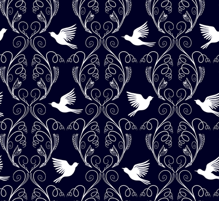 Illustration of fantasy curly nature branches and flying birds pattern. Çizim