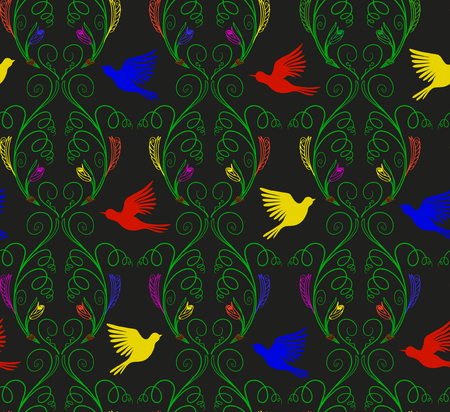 Vector illustration of imaginary curly nature plants and flying birds seamless pattern. Colorful contour on black background. Hand drawn.