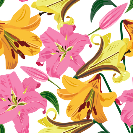 Vector illustration of large lilies seamless pattern. Colorful flowers on white background.
