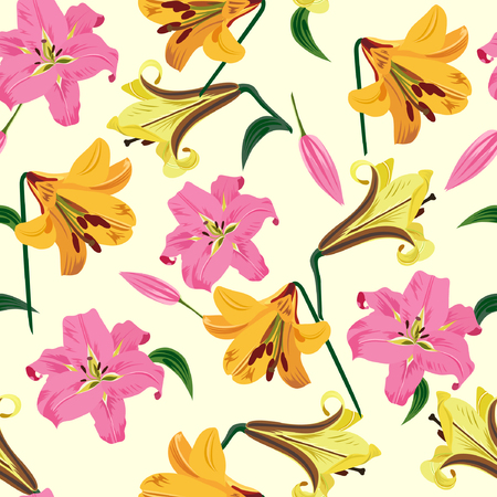 Vector illustration of lilies seamless pattern. Pink and yellow flowers on light pastel background.