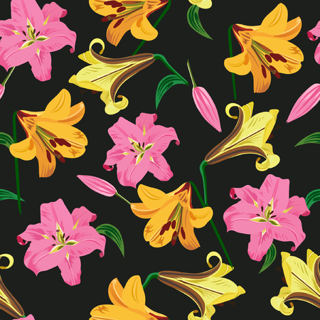 Vector illustration of lilies seamless pattern. Pink and yellow flowers, green leaves on black background.