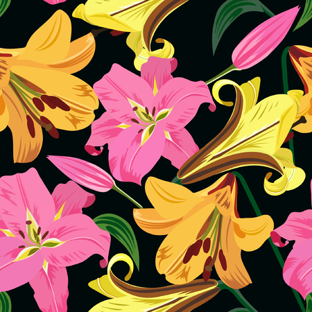 Illustration of big lilies vector seamless pattern. Pink and yellow flowers, green leaves on black background hand drawn.