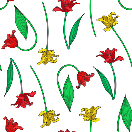 Vector illustration of colorful tulips seamless pattern. Red and yellow tulips on white background.