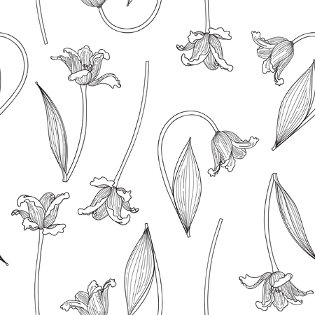 Vector illustration of tulips sketch seamless pattern. Black contour tulips on white background. Hand drawn. Çizim