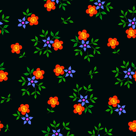 Vector illustration of colorful flowers seamless pattern on black background. Hand drawn. Çizim