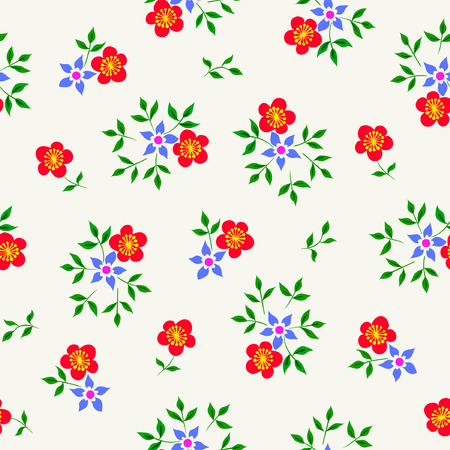 Vector illustration of simple flat flowers seamless pattern. Red, blue flowers and green leavs on light pastel background. Hand drawn.
