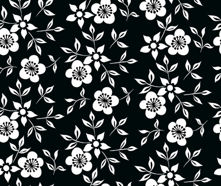 Vector illustration of black and white flowers and leafs pattern. Seamless floral ornament pattern. Hand drawn.