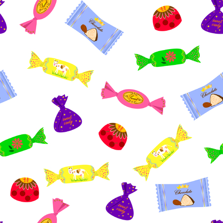 Vector illustration of colorful candies seamless pattern. Chocolate candies in colorful wrappers on white background. Hand drawn.