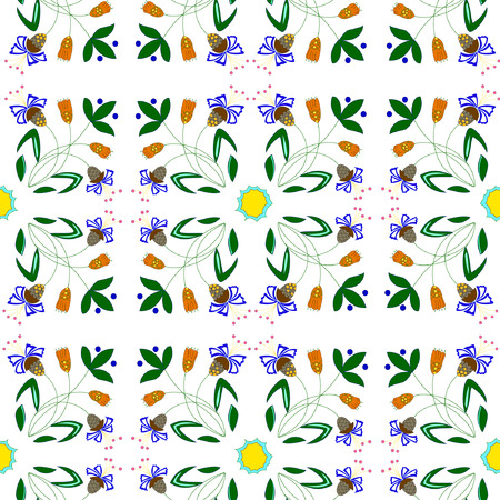 Vector illustration of abstract plants seamless pattern. Fantasy flowers ornament on white background. Hand drawn.