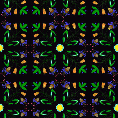 Vector illustration of abstract plants seamless pattern. Fantasy flowers branches ornament on black background. Hand drawn.