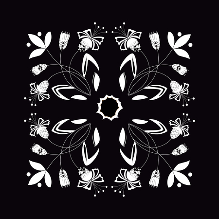 Vector illustration of abstract seamless floral ornament. White plants on black background. Hand drawn.