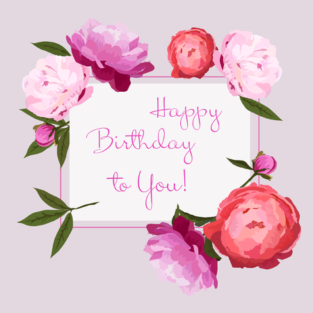 Vector illustration of Happy Birthday greeting card with colorful peonies flowers. Red, pink and violet peonies buttons with green leaves on light grey background. Hand drawn.