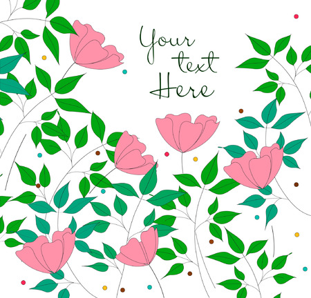Vector illustration of simple hand drawn flowers and tree branches on white background.