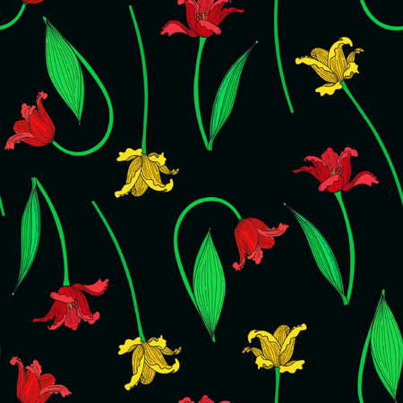 Vector illustration of colorful tulips seamless pattern. Red and yellow tulips on black background. Hand drawn.