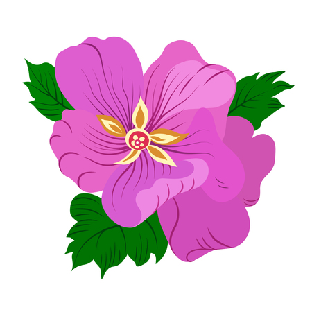 Vector illustration of violet flower with green leaves. Hand drawn. Çizim
